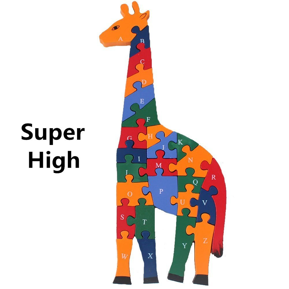 Alphabet Jigsaw Puzzle, Cafurty Wooden Animal Letters Numbers Block Toys for Preschool Children Boys Girls Kids to develop intellectual powers - Giraffe