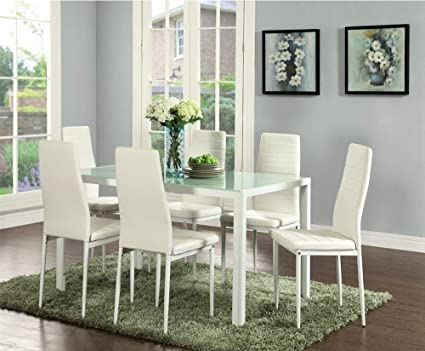IDS Home Dining Table Set with Chairs Furniture Set with Glass Top Metal  Leg and Frame (Table and 6 Chairs (White))