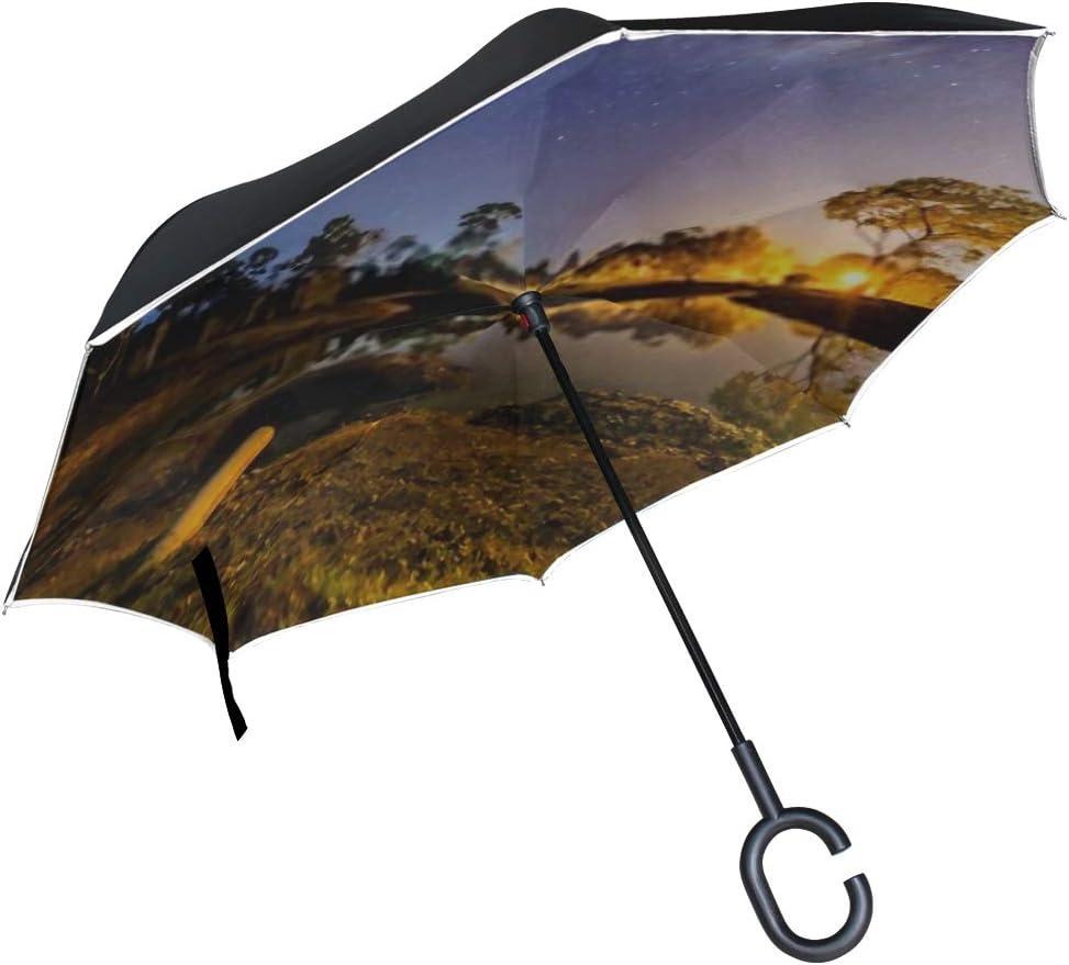 Double Layer Inverted Inverted Umbrella Is Light And Sturdy Amazing Beautiful Night Sky Milky Way Reverse Umbrella And Windproof Umbrella Edge Night