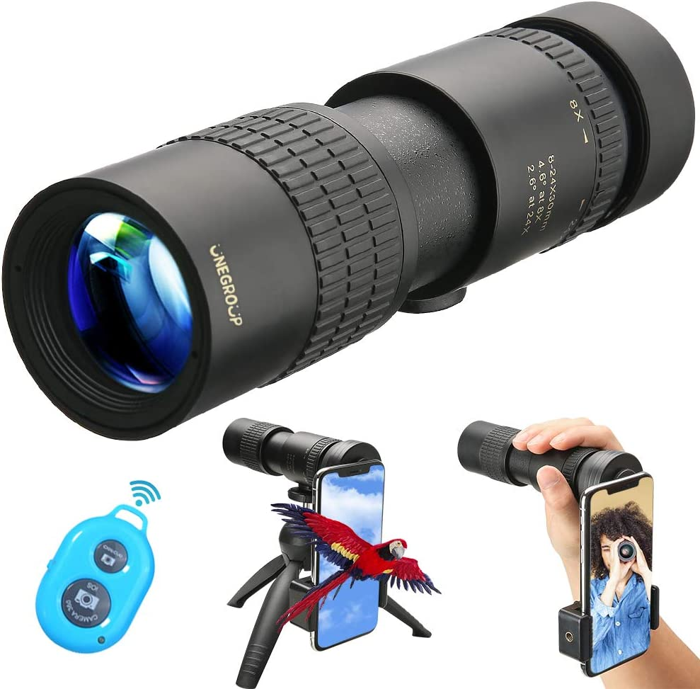 UNEGROUP High Power Monocular Telescope, HD Low Night Vision Waterproof Compact Spotting Scope with Smartphone Holder, Wireless Control Tripod – FMC BAK4 Prism for Bird Watching, Camping, Hiking