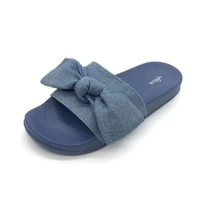 603180e35180 FUNKYMONKEY Women s Slides Sandals Bowknot Beach Casual Comfort Slippers (6  D(M) US