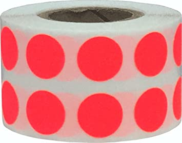 Fluoreszierend Gelb Kreis Punkt Aufkleber 1000 Etiketten auf einer Rolle 13 mm 1//2 Zoll Runde