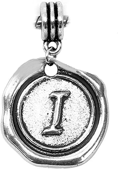 Initial Alphabet Letter I Wax Stamp Dangle Bead Charm for European Bracelet