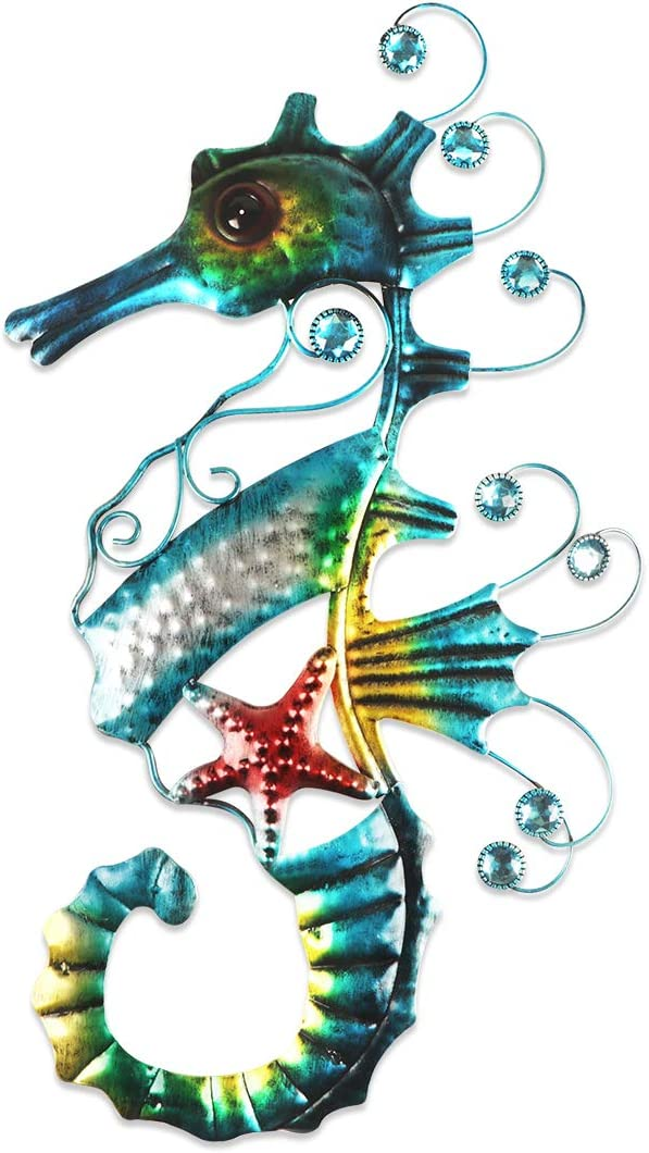 YiYa Metal Mosaic Seahorse Wall Decor Seahorse Wall Art for Garden Home Living Room Bedroom Patio Decoration Beach Theme Decorations Beach Party Decoration