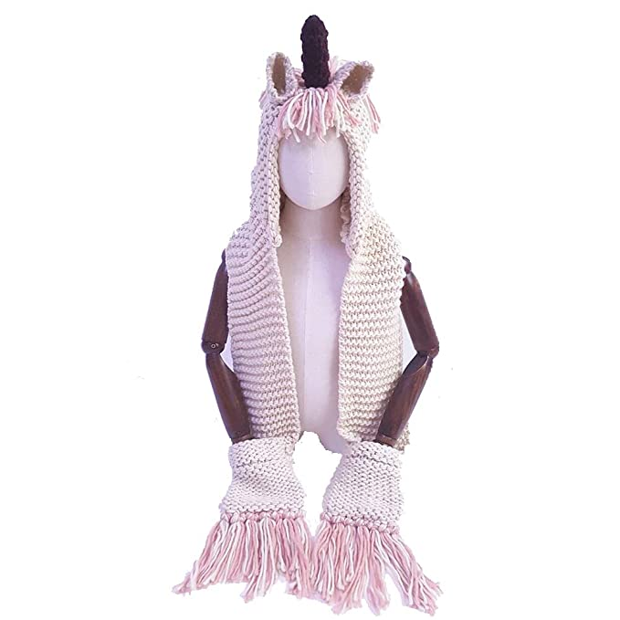 Amazon.com  Girls Cute Unicorn Knit Winter Hat with Scarf Pocket ... 558db3df83c