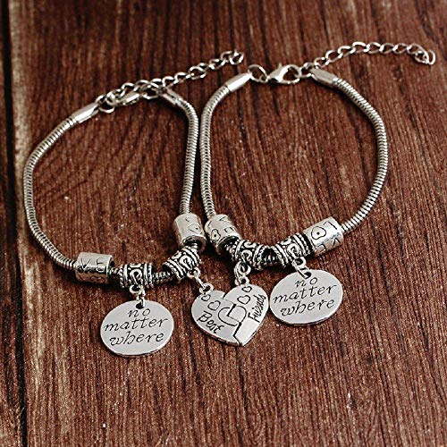 NO Matter Where Friendship Charms Expendable Steel Bangle Bracelets.
