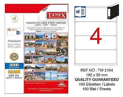 TANEX TW-2104 Etiquetas para archivadores blanco 192 x 59 mm -abgerundet- 25