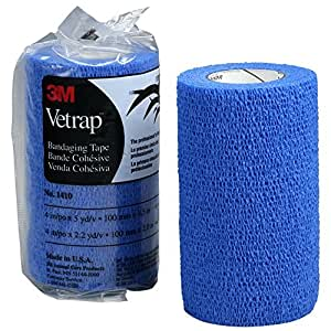 "3M Vetrap 4"" Show Color Bandaging Tapes, 4""x 5 Yards, 3-Pack w/Bonus Tape (Blue)"