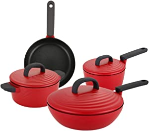 COOKER KING 7-Piece Nonstick Pots and Pans Set, Double Non Sticking Coated Cookware Set With Thicken Body, Induction Compatible, Kitchen kitchenware With lids Cookware Sets With Silicone Handle, Red