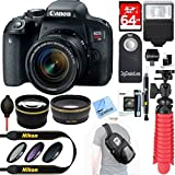 Canon EOS Rebel T6i Digital SLR Camera + 18-55mm STM + Automatic Flash + 64gb SDXC + Remote + Complete Cleaning Kit + Accessory Bundle - 3pc Filter Kit + Sling Backpack (Black)