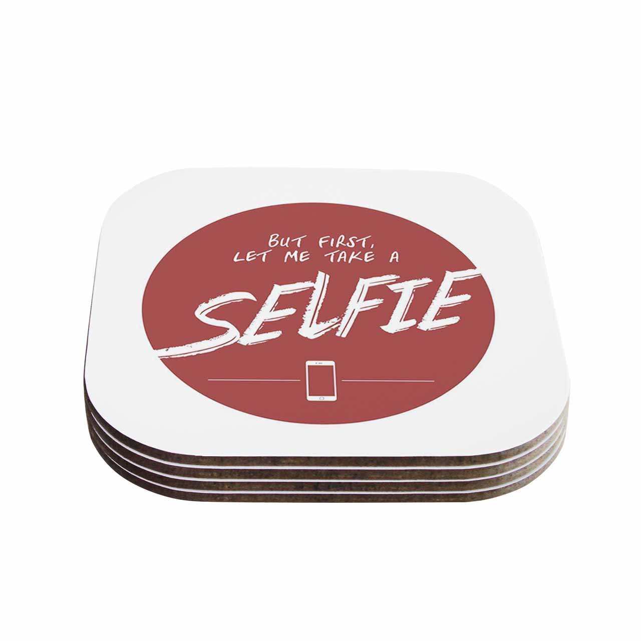 Multicolor Set of 4 4 x 4 KESS InHouse Juan PaoloLet Me Take A Selfie Red White Coasters