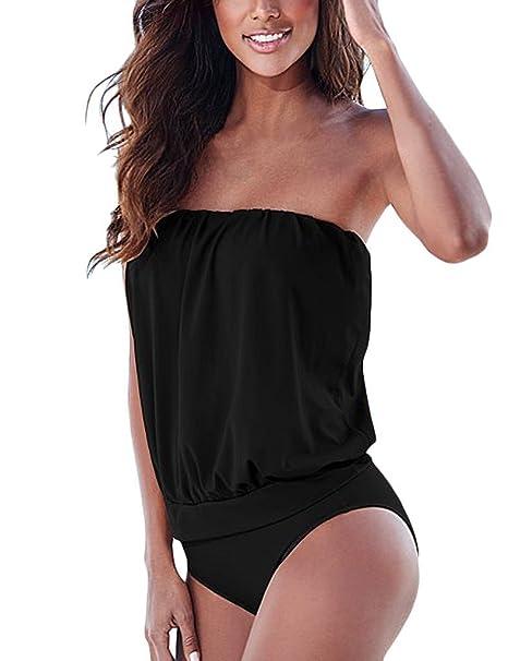 BienBien Bikini Mujer Bandeau Traje de Baño Piezas Bañador Tankinis Mujer Sin Tirantes Ropa de Playa Atractiva Vendaje Vestido