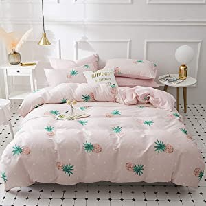 ?Newest Arrival?Girls Tropical Pineapple Duvet Cover Kids Pink Duvet Cover Twin Cotton Fruit Pink Pineapple Comforter Cover Lightweight White polka dot Pink Bedding Set Twin with Zipper, NO Comforter