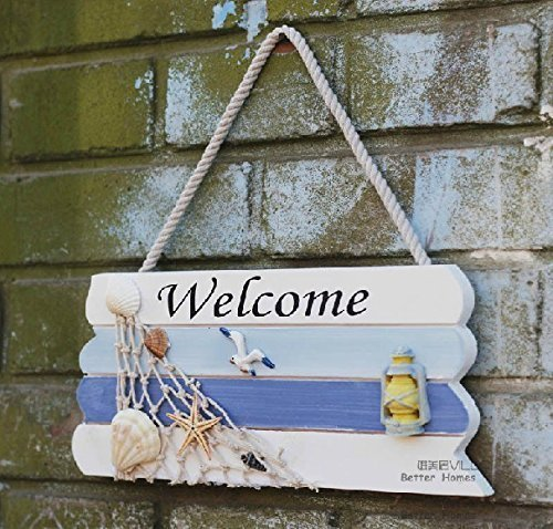 Welcome Sign Nautical (DOODEEN Welcome Sign,Home Decorative Welcome Wall Plaque,Hanging Ornaments Wood Sign,Boat Beach Ocean Seaside Theme Handcrafted Nautical Decor for Door, Entrance, Porch (1))