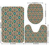 3 Piece Bathroom Mat Set,Arabian,Islamic-Mosaic-Floral-Patterns-with-Geometrical-Shapes-Old-Ethnic-Oriental-Motifs,Multicolor.jpg,Bath Mat,Bathroom Carpet Rug,Non-Slip