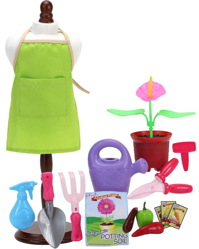 Sophia's Smithsonian Horticulturist Set 18 Inch Doll Gardening Set Includes Canvas Apron, Potting Soil, Vegetables, Shears, Spade, Watering Can and More