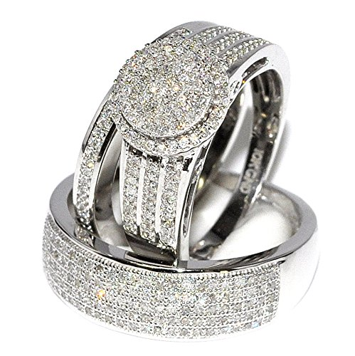 amazoncom rings midwestjewellery his her 10k white gold halo style wedding ring 23cttw diamond i2i3 clarity ij color midwestjewellery jewelry - White Gold Wedding Rings Sets