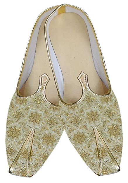 Mens Golden Brocade Indian Wedding Shoes MJ0024
