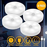 AULTRA Wireless LED Puck Light - Powered LED Lights with Motion Sensor Operated Lighting Used for Under Cabinet Lighting, Nig
