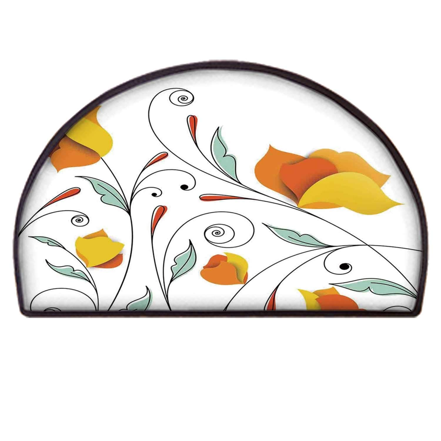 C COABALLA Floral Practical Semicircle Mat,Bouquet with Swirled Branches Romantic Paper Flowers Origami Autumn Blooms Image for Back Door,100 x 200cm / 39.37 x 78.74 inch by C COABALLA