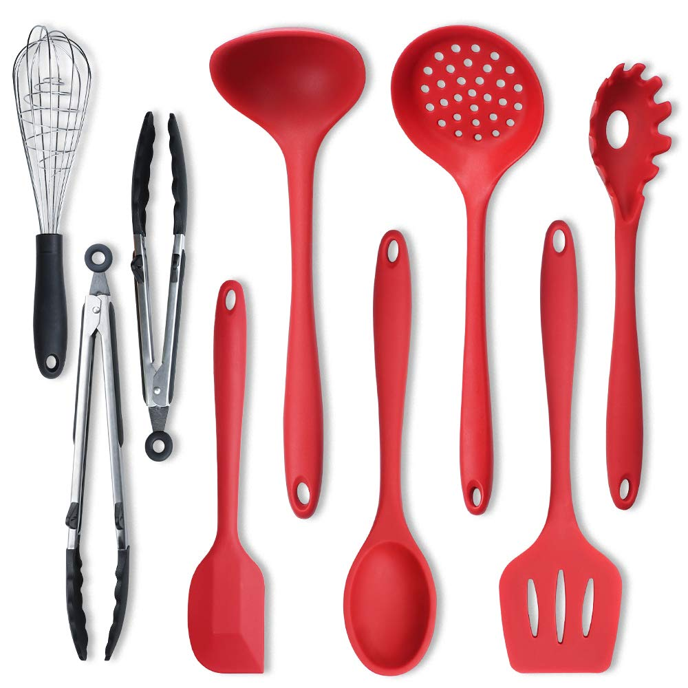 Silicone Cooking Utensils Set, IKSTAR 9 piece Kitchen Utensil Heat Resistant & Stain-resistant Silicone Cooking Tools -Turner Tongs Spatula Spoon for Nonstick Cookware