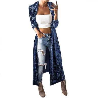 Kolylong® Strickjacke Damen Frauen Elegant SAMT Lang Strickjacke Mode  Frühling Cardigan Langarmshirt Vintage Oversize Mantel bcfbdcae60