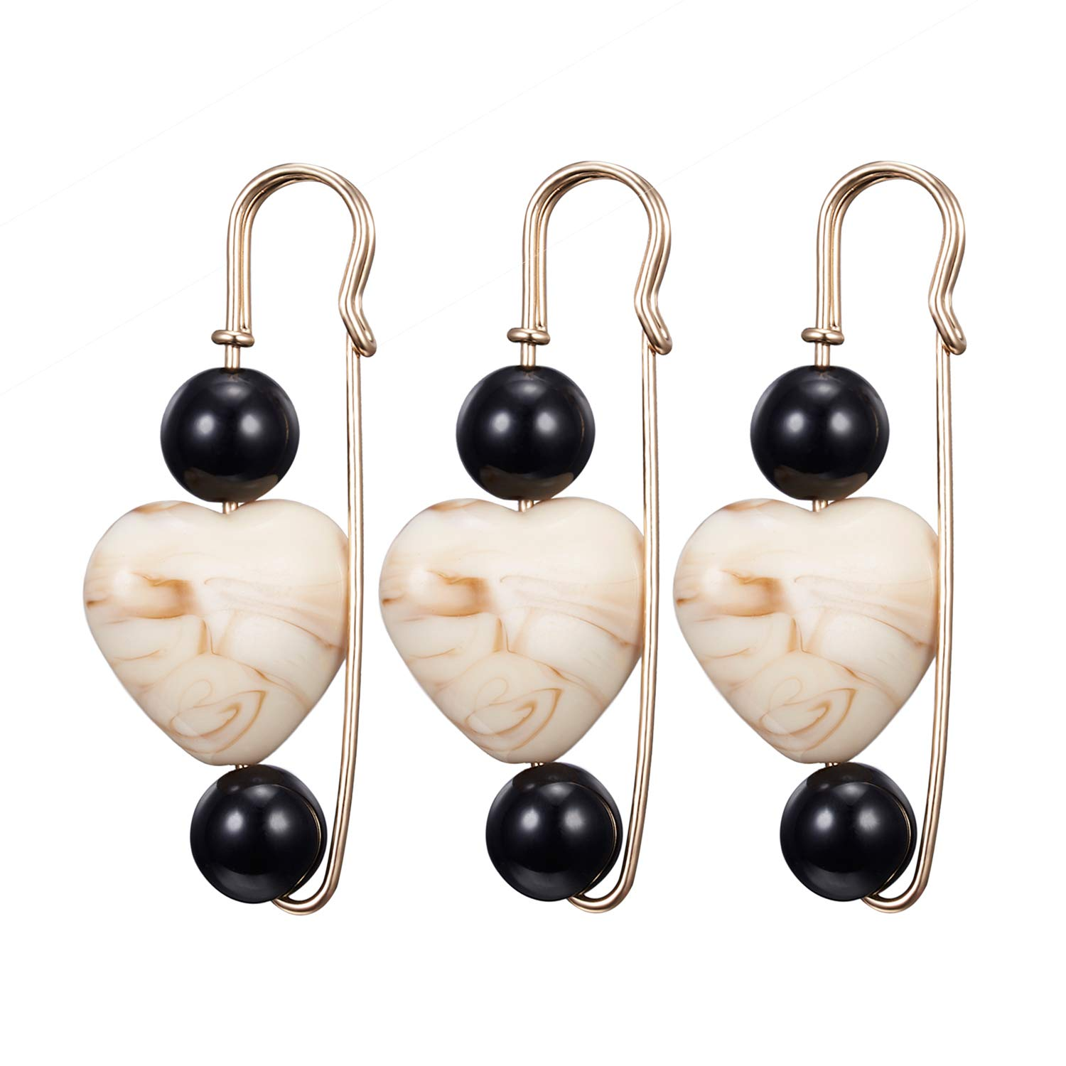RINHOO FRIENDSHIP Pearl Crystal Brooches Pins Beads Safety Clips Coat Hat Shawl Silk Scarf Dress Sweater Knitted Jewelry Women Girls (Heart Bead)