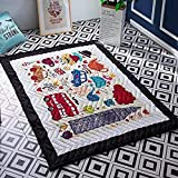 Baby Kids Play Mat Cotton Crawling Cushion, Kids Room Rug Floor Gym, Non-Toxic Non-Slip Washable Reversible Room Decor Floor Rug, Activity Floor Carpet (Bus)