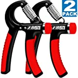 Hand Grip Strengthener Strength, Ameri Fitness [Set of 2] Increasing Hand Wrist Forearm Trainer Exerciser; Adjustable Resistance (22~88 Lbs); Non-slip Gripper