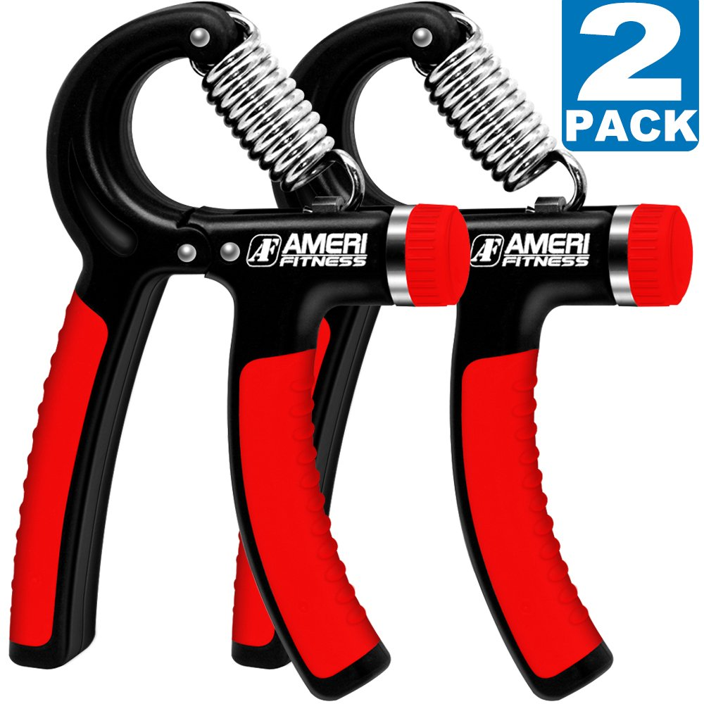 Ameri Fitness Hand Grip Strengthener Strength, [Set of 2] Increasing Hand Wrist Forearm Trainer Exerciser; Adjustable Resistance (22~88 Lbs); Non-Slip Gripper