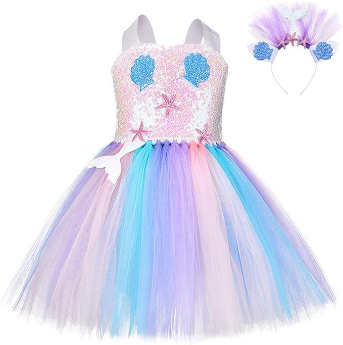 FONLAM Vestido Disfraz de Sirena Niña Bebé Vestido Tutú Princesa ...