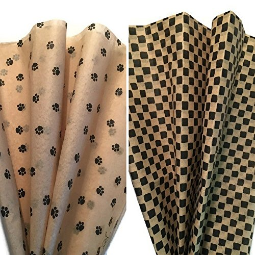 Printed Tissue Paper for Gift Wrapping TWO PATTERN BUNDLE: Dog Paw Print/Primitive Black & Tan Tissue Paper, 24 Large Sheets, 20x30