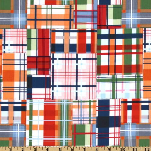 Michael Miller EO-087 Going Coastal Collection Patchwork Plaid Multi Fabric by The Yard ()