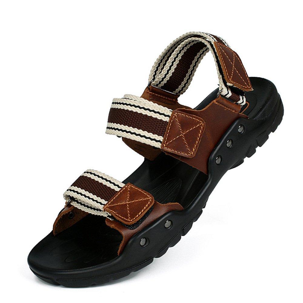 Sandalias De Verano para Hombres Velcro Peep Toe Sandalias Casuales Sandalias para Caminar Al Aire Libre Transpirables Sandalias para Caminar 42 EU|Brown