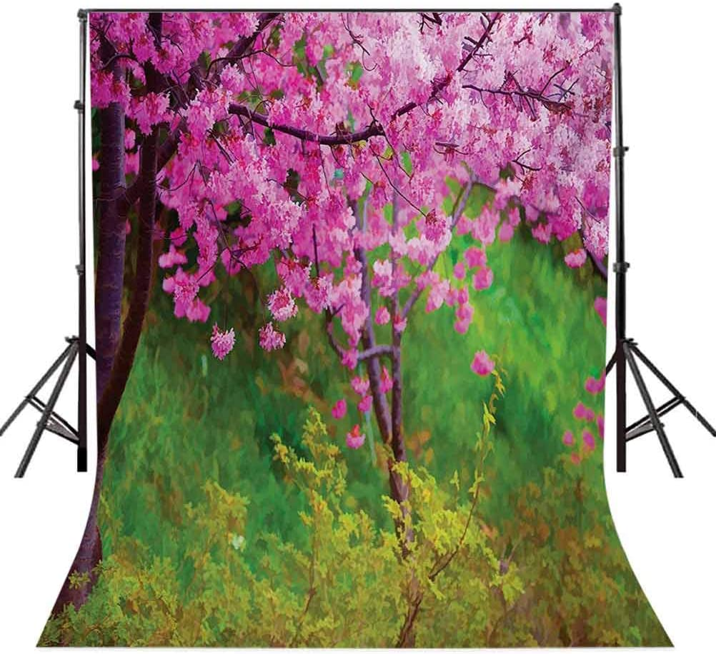 Sakura Flowers Trees in Spring Garden Landscape Floral Pink Blossom Pattern Background for Baby Shower Bridal Wedding Studio Photography Pictures Pink and Gre Japanese 6.5x10 FT Photography Backdrop