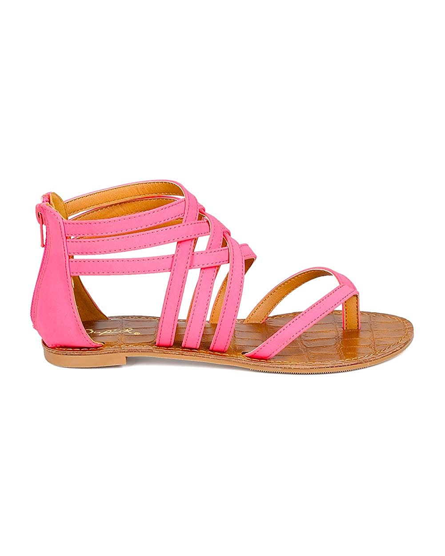 d3fc2891e599e Qupid Women Nubuck Open Toe Strappy Gladiator Flat Sandal CF18 - Candy Pink