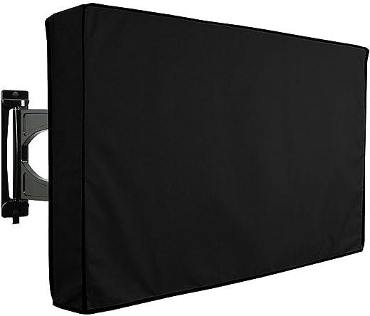 طقم غطاء تلفزيون خارجي غطاء للغبار، متوافق مع حوامل وحوامل قياسية، وحدة تخزين مدمجة للتحكم عن بعد، أحجام متعددة (46 بوصة - 48 بوصة، أسود)