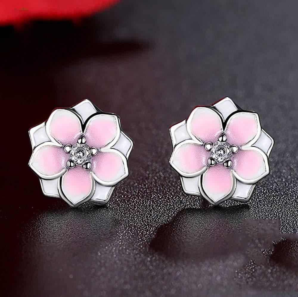 4ed40819b Amazon.com: Solid 925 Sterling Silver Magnolia Bloom Stud Earrings Pale  Cerise Enamel & Pink CZ Flowers Earring For Women Jewelry: Beauty