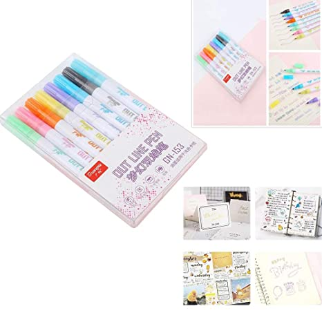 Glitter Gel Pens Set Double Line Outline Pen Stationery 8 Colored Glitter Pen Writing Drawing Pens For Coloring Books Craft Drawing Doodling Card