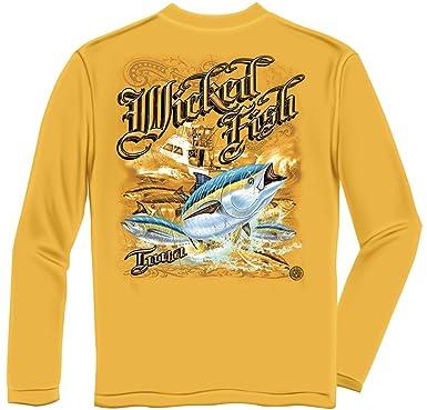 f4cba1990223fa Amazon.com  Erazor Bits Tuna Gold Long Sleeve T Shirt WF101LS  Clothing