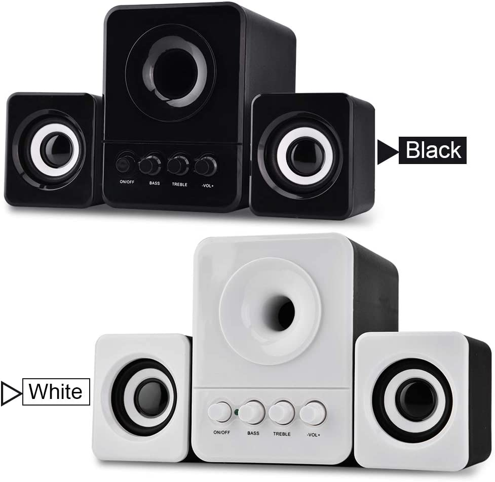 black Retteec Network Mini USB 2.1 Wired Combination Speaker Bass Music Player Subwoofer for Phone Laptop PC