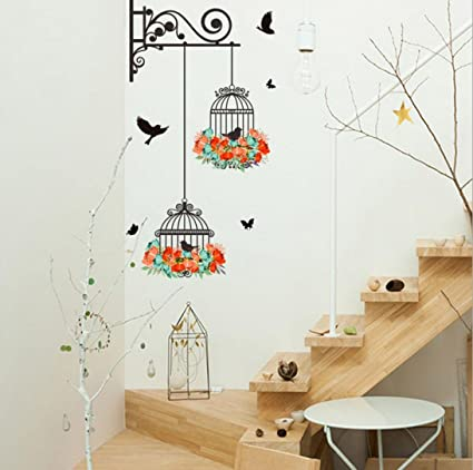 Livoty Wall Stickers Home Decor Birdcage Decorative Painting Bedroom Living Room Tv Wall Stickers Mural