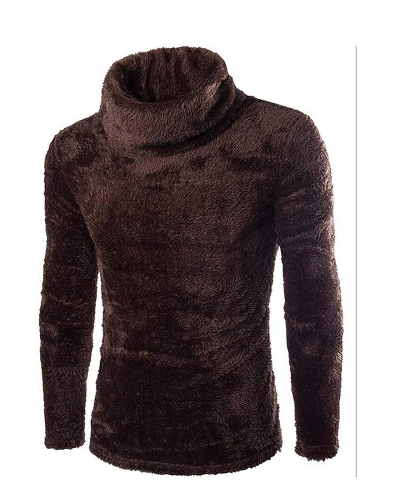 Classic Pink Warm Velvet Pullover Mens Long Sleeve Turtleneck Sweater