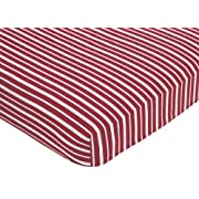Sweet Jojo Designs Vintage Aviator Fitted Crib Sheet for Baby and Toddler Bedding Sets - Red Stripe Print