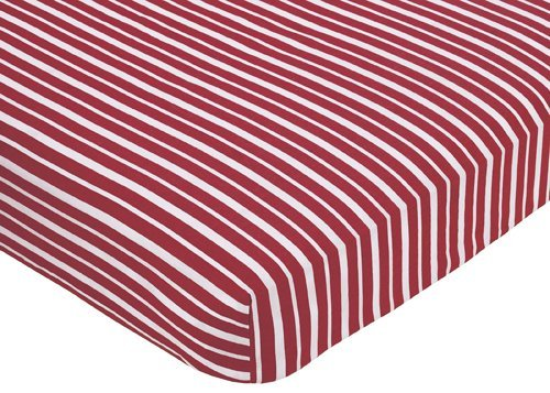 Sweet Jojo Designs Vintage Aviator Fitted Crib Sheet for Baby and Toddler Bedding Sets - Red Stripe - Sweet Vintage