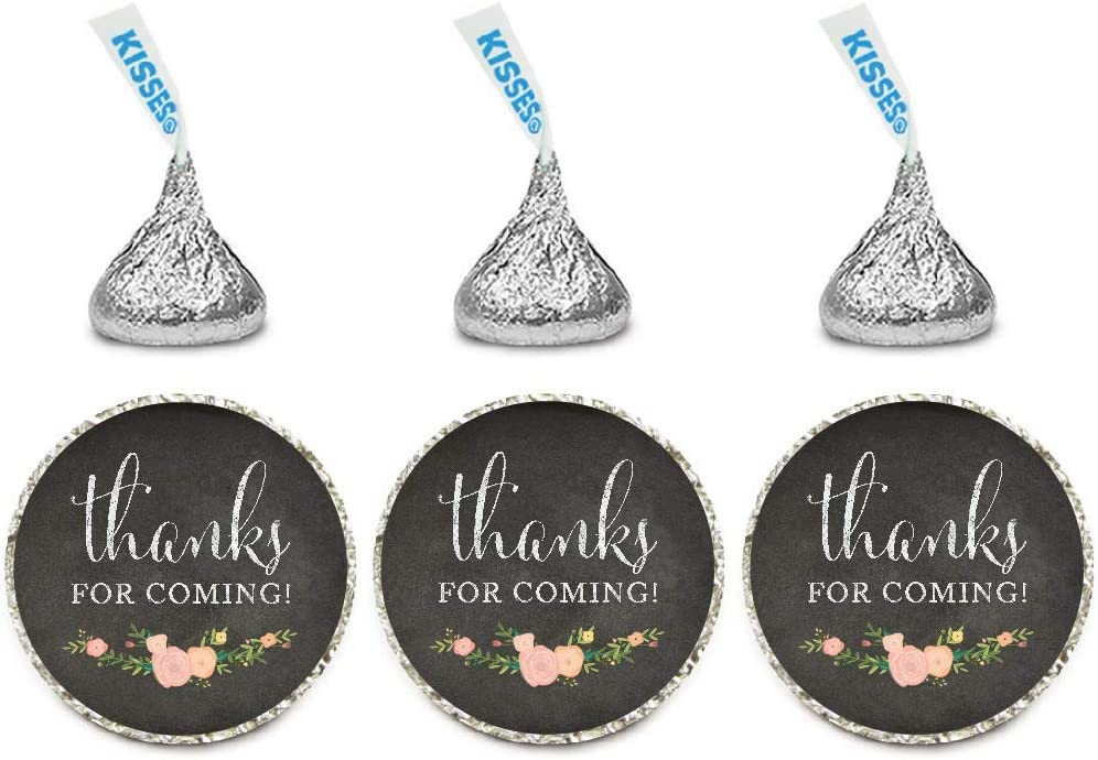 Andaz Press Chocolate Drop Labels Stickers, Thanks for Coming!, Chalkboard Floral, 216-Pack, for Wedding Birthday Party Baby Bridal Shower Hershey's Kisses Party Favors Decor Envelope Seals