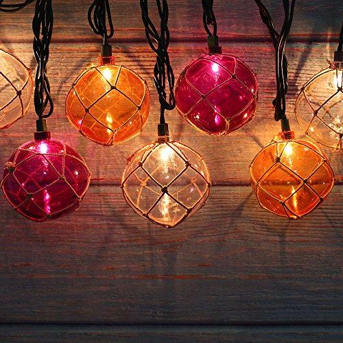 Lidore? Set of 10 New Nautical Fishing Floats Coastal Buoy Beach Style String Lights Set. Warm White Lighting. Orange Clear and Purple by Lidore? (Image #1)