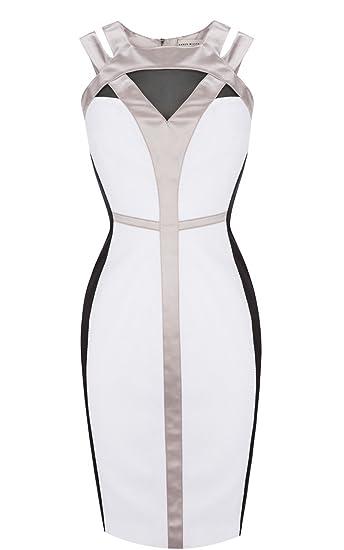 acedae009a Karen Millen Graphic Colour Block Shift Dress Black White Size 10 UK ...