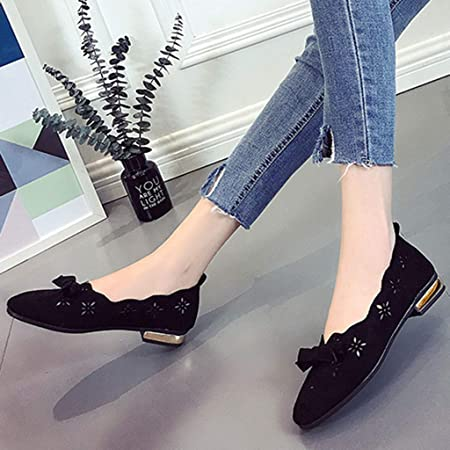 Zapatos de Vestir Plano para Mujer Primavera Verano 2019 PAOLIAN Sandalias Fiesta Boda Elegantes Tacón Bajos Suave Calzado Hueco Cómodos Suela Blanda Terciopelo Tallas Grandes Dama Bowknot