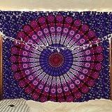 Pink & Purple Mandala Tapestry Bohemian Peacock Tapestry Hippie Tapestry Wall Hanging Bohemian Bedspread Cotton Dorm Decor Beach Blanket psychedelic tapestry by Jaipur Handloom
